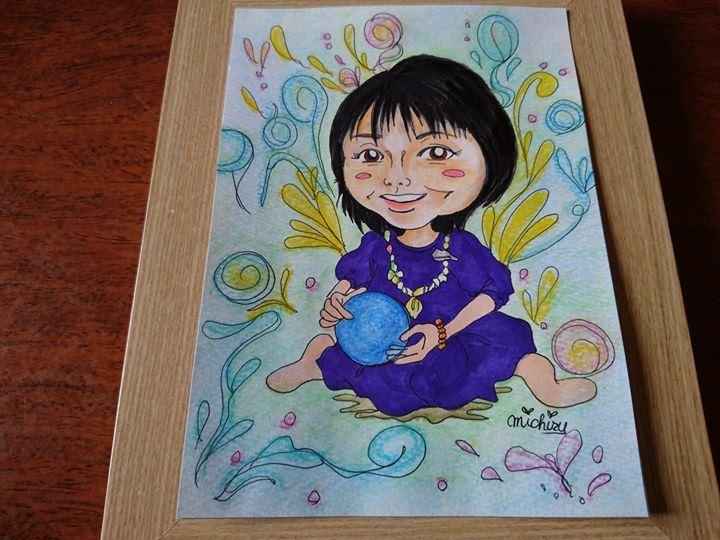 【制作実績】似顔絵アート「青いパワーの玉」