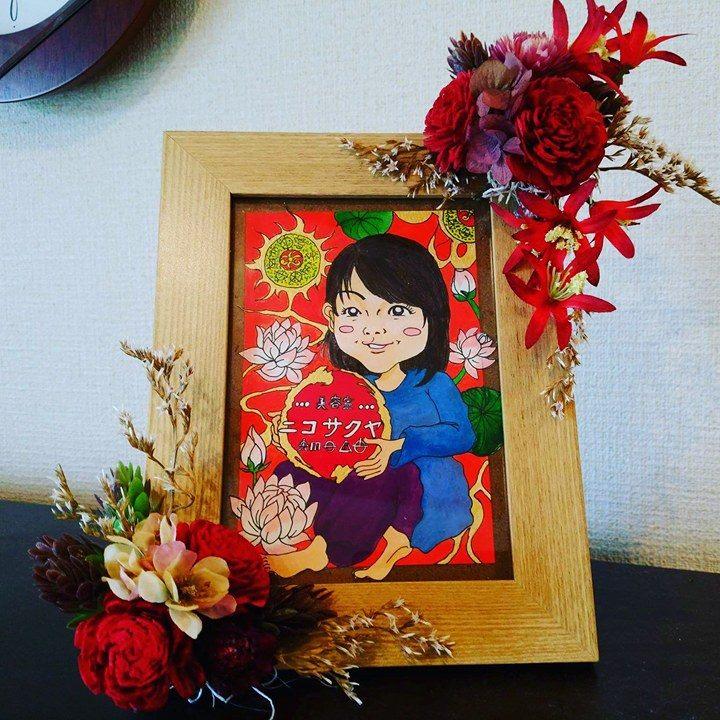 【制作実績】似顔絵アート「お祝いの品」