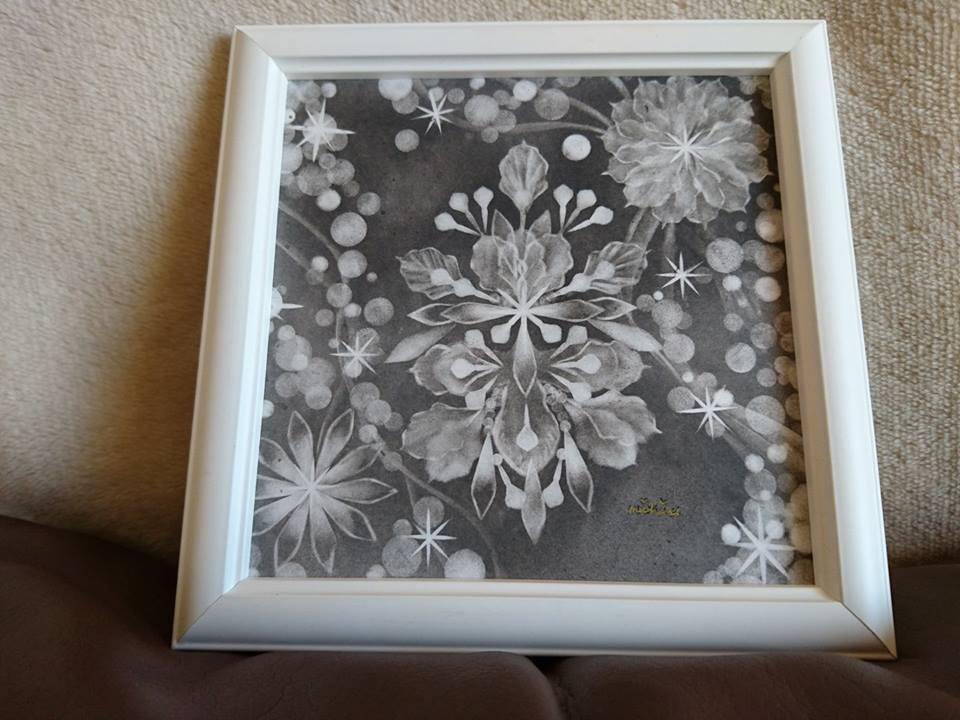 【制作実績】結晶の花アート「黒と白」2