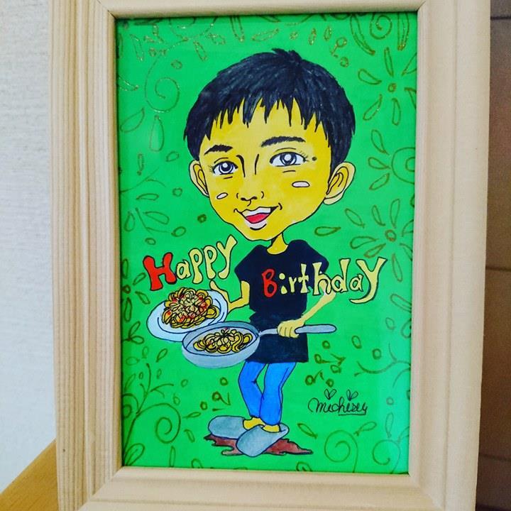 【制作実績】似顔絵アート「誕生日プレゼント似顔絵」