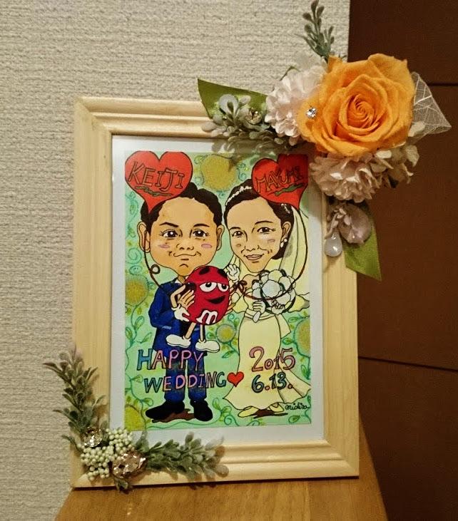 【制作実績】似顔絵アート「結婚祝いプレゼント」
