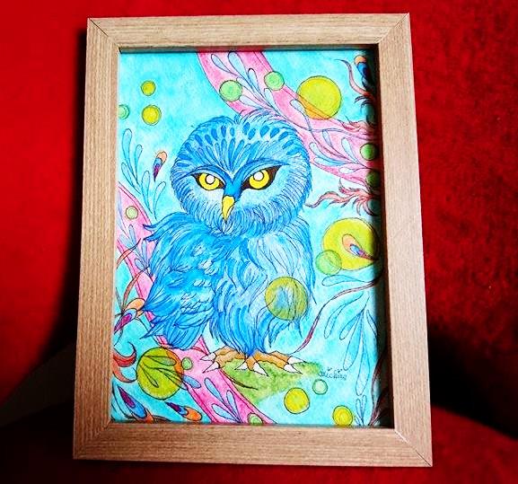 【制作実績】オリジナルアート「青いフクロウ」