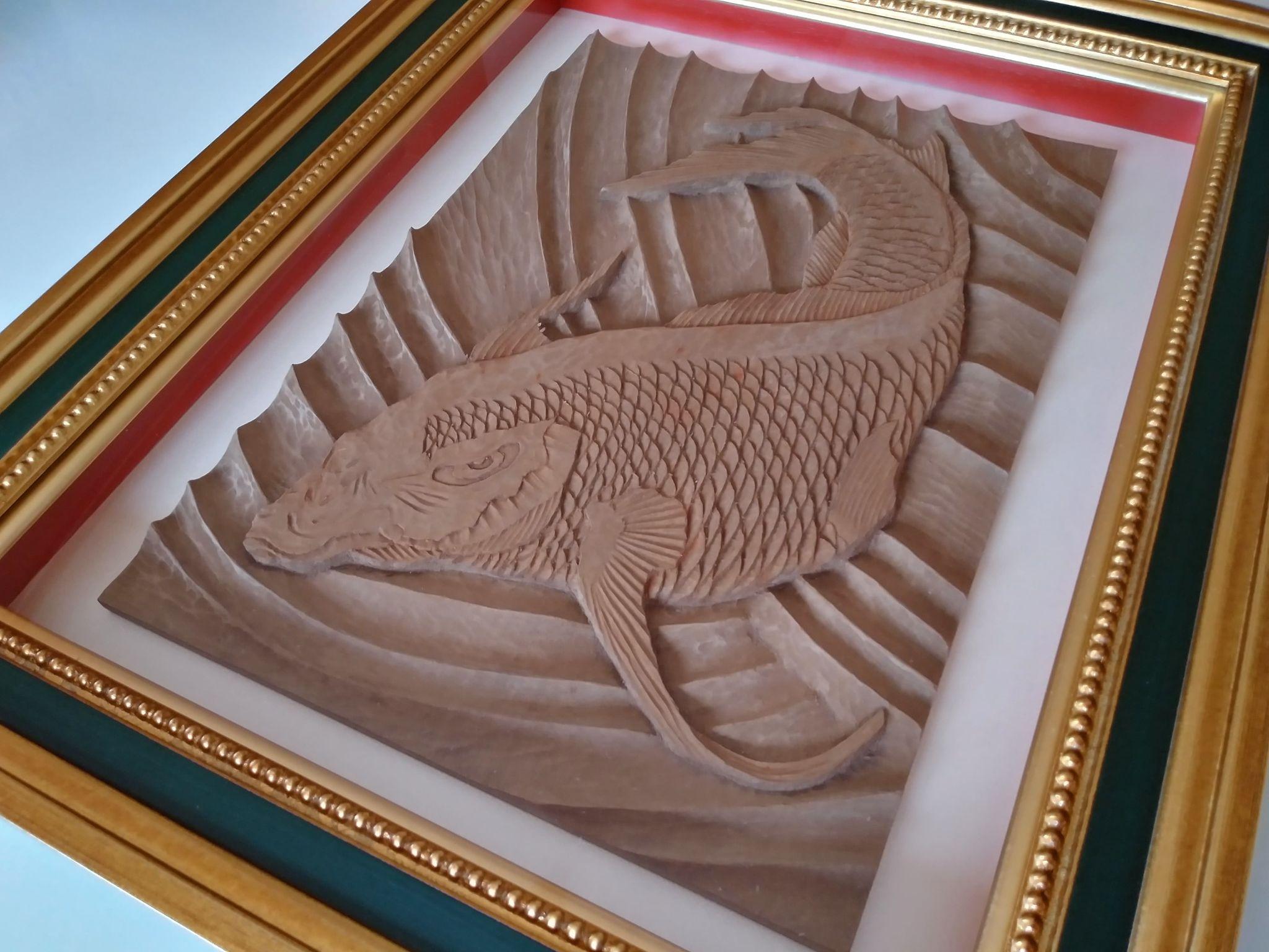 【制作実績】木彫作品『鯉から龍』完成7
