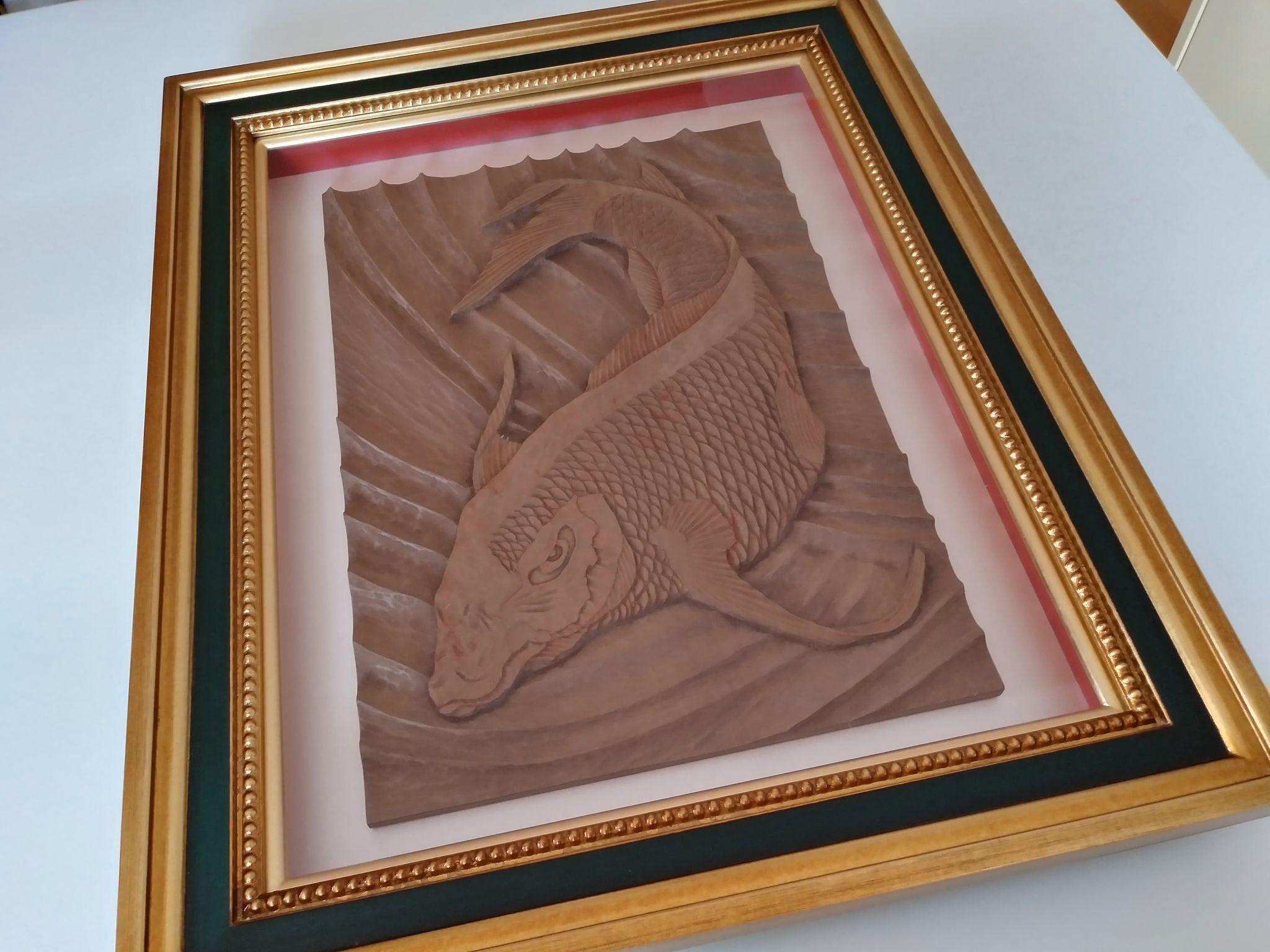 【制作実績】木彫作品『鯉から龍』完成5