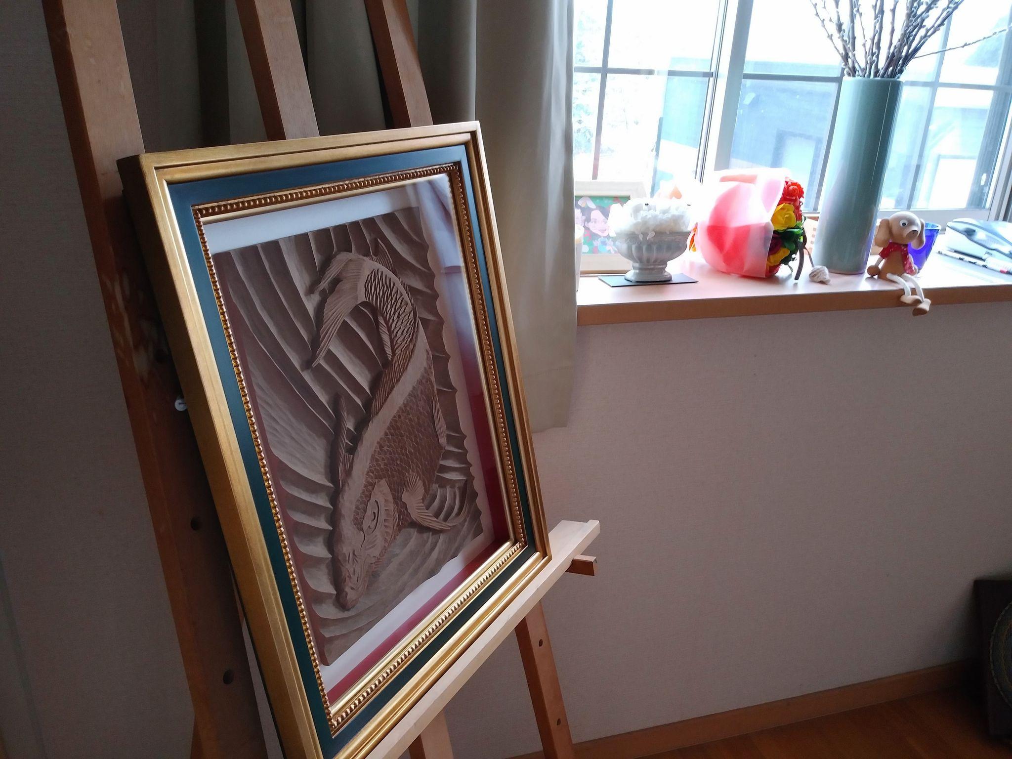 【制作実績】木彫作品『鯉から龍』完成6